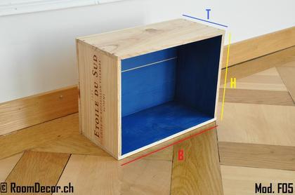 weinkiste als wandregal blau mod f05. Black Bedroom Furniture Sets. Home Design Ideas