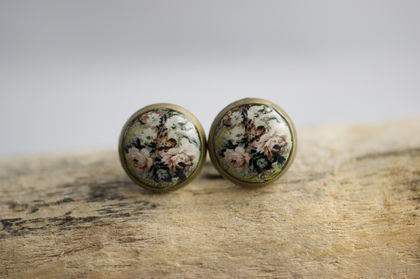 Ohrstecker shabby chic  Rosen 10mm