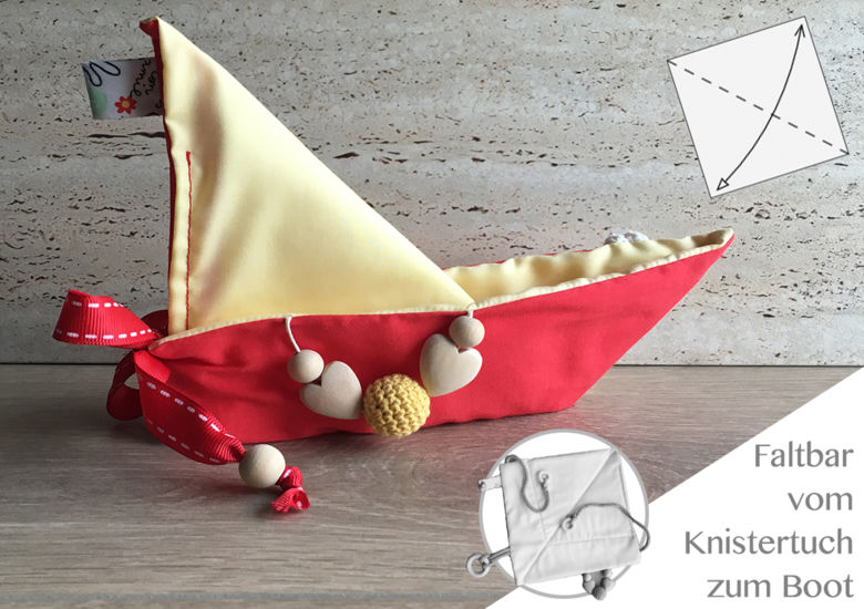 "Knistertuch Origami-Boot ""Red-Yellow"""