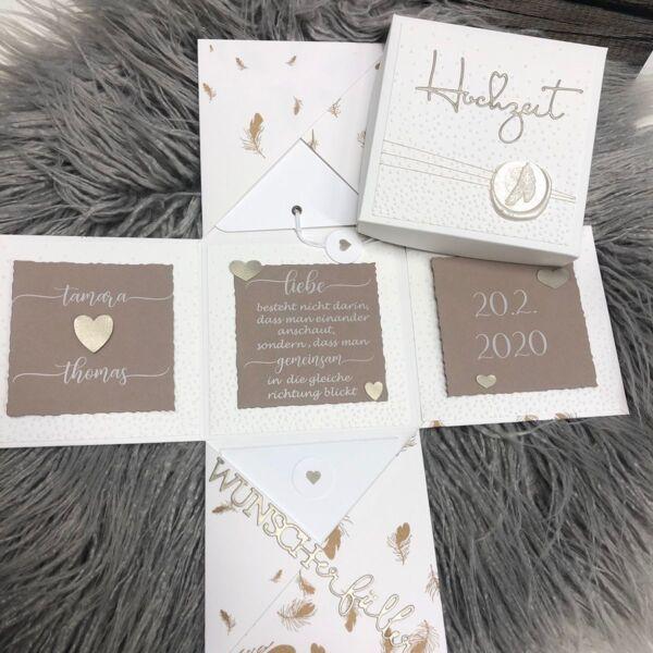 Hochzeitsbox Goldene Feder Neues Design