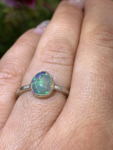 Opal-Ring - 925 Sterling Silber - Stapelring