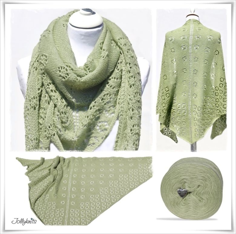 Strickanleitung Laceshawl Flowers  Lime