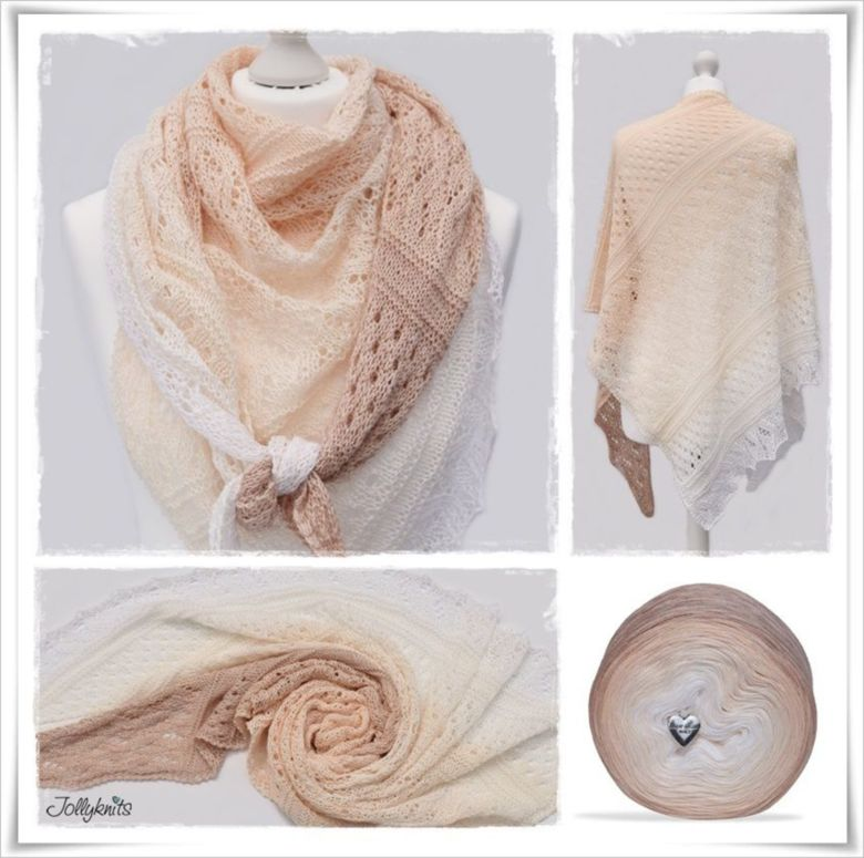 Strickanleitung Laceshawl Apricot Candy