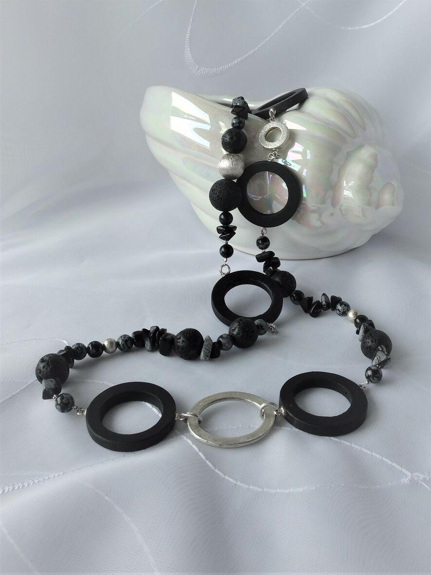 Lange Halskette Onyx Obsidian Lava Silber 925