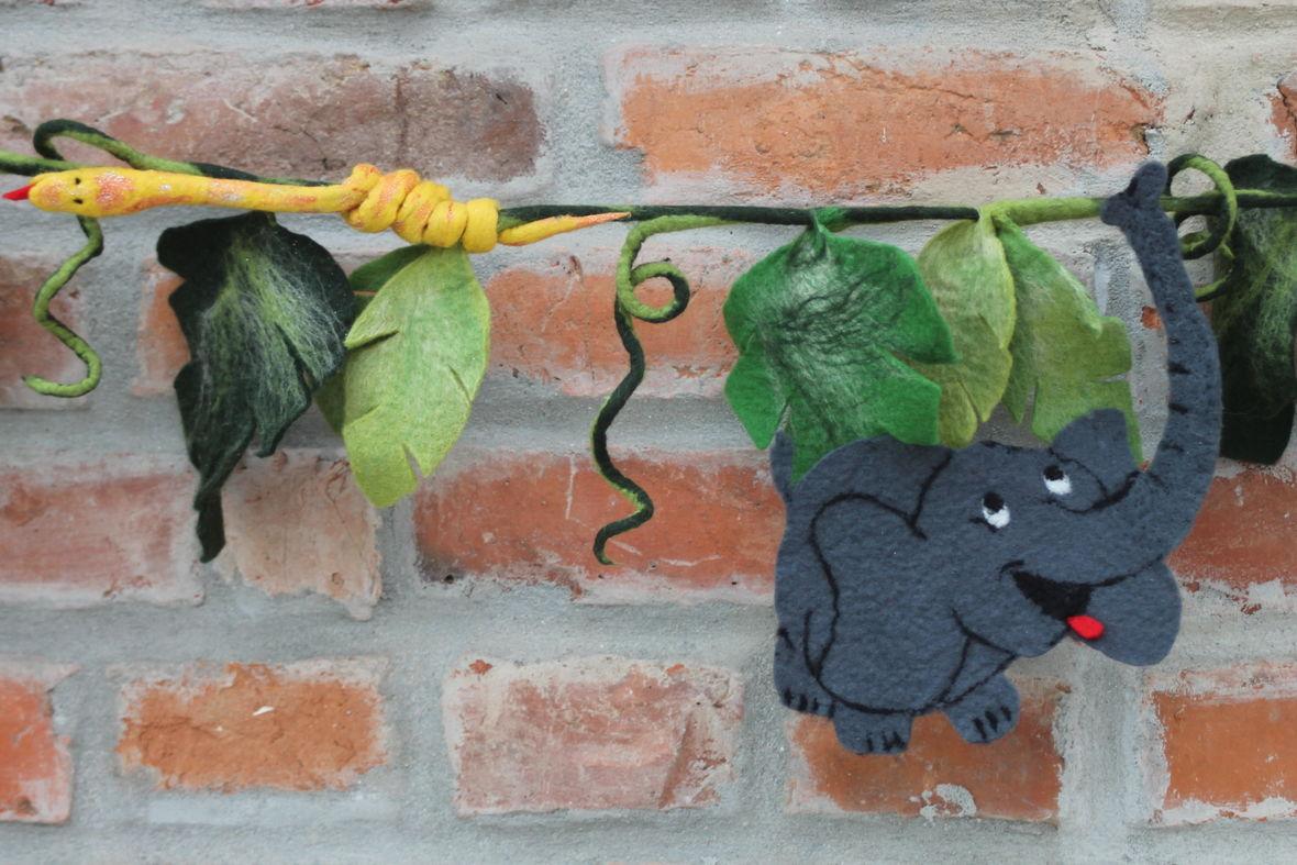 Dschungel Girlande gefilzt für das Kinderzimmer oder die Schultüte