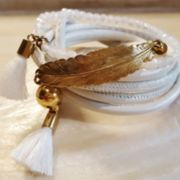 PRETTY Lederarmband - golden-weiss