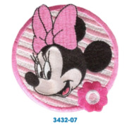 Applikation, Minnie Mouse Kopf, rund, rosa