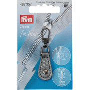 Fashion-Zipper Lederimitat, grau & silber