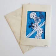 "Textilkunst-Karte ""crazy patch blue"""