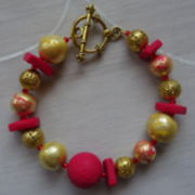 Armband Fimo Rot  Gold Gelb