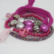 dreiteiliges Wickelarmband in Pink
