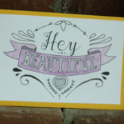 "handgemalte Karte ""Hey beautiful"""