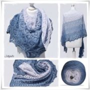 Strickanleitung Laceshawl Rhapsody in Blue