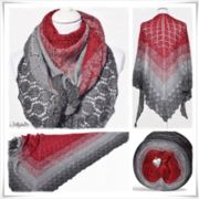 Strickanleitung Lace Shawl Red Christmas Glitzer