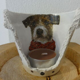 "Windlichtunikat Ø 9cm ""Foxterrier forever friends"""
