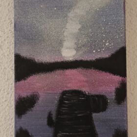 Lake in the dark - Canvas 13 x 18 cm