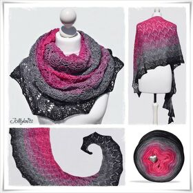 Strickanleitung Laceshawl Black Rose