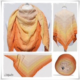 Strickanleitung Laceshawl Orange Juice