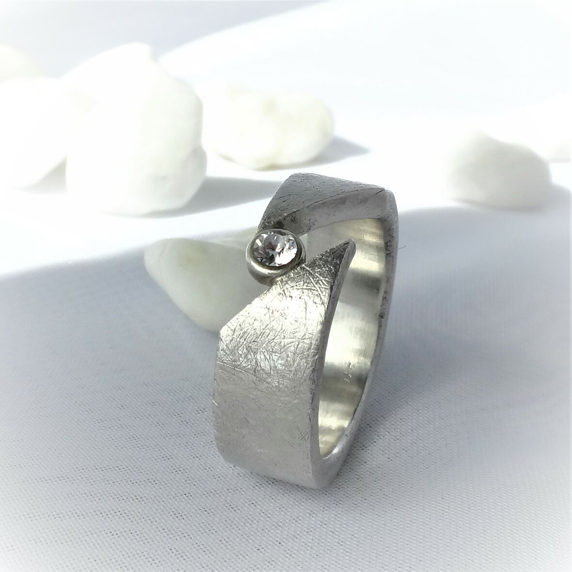 Diamant Silber Ring Silber Swarovski 925 Ring K3JF1cTl