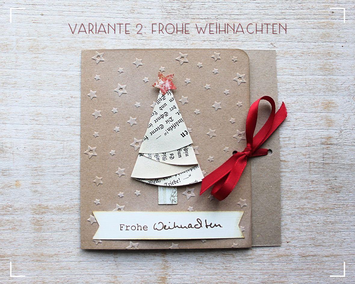 Weihnachtskarte aus kraftpapier in 2 varianten merry - Dekorationsideen weihnachten ...